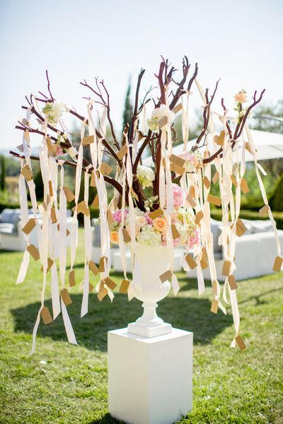 Hanging escort cards: http://www.stylemepretty.com/destination-weddings/2015/04/28/french-riviera-wedding-at-chateau-diter/ | Photography: Brosnan - http://www.brosnanphotographic.com/