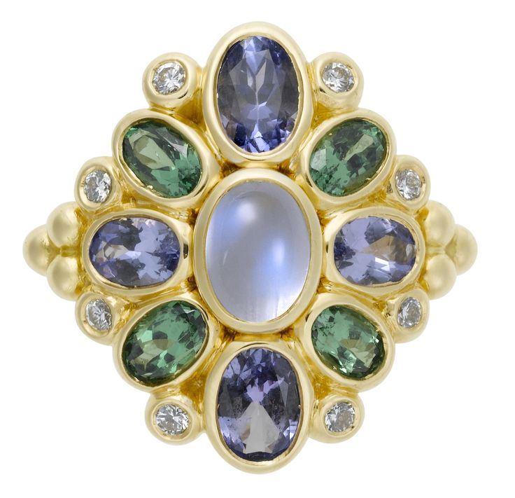 Temple St. Clair 18K Anima Cluster Ring with Royal Blue Moonstone, Tanzanite, Tsavorite, and Diamond.