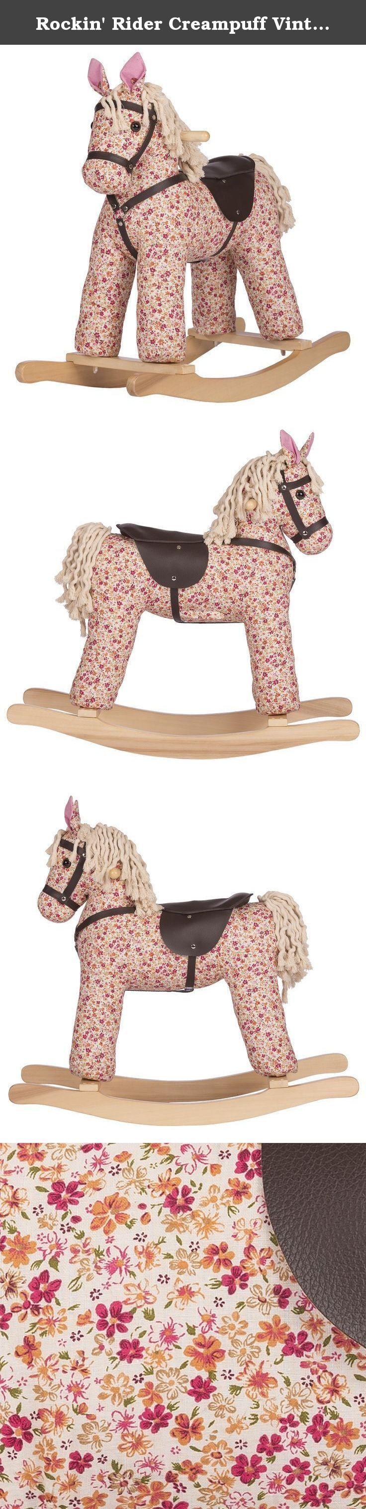 """Rockin' Rider Creampuff Vintage Rocking Horse Plush. Creampuff is a soft stuffed Vintage Rocking Horse made with flowery fabric for a vintage, hand-crafted look. She sits on a beautiful wooden base. Creampuff sings the exclusive """"I'm a Little Pony"""" song when her left ear is squeezed and says 6 fun talking phrases with sound effects when her right ear is squeezed. Other features include leatherette bridle and reins, leatherette high-back saddle, wooden handles, and a twisted yarn mane and..."""