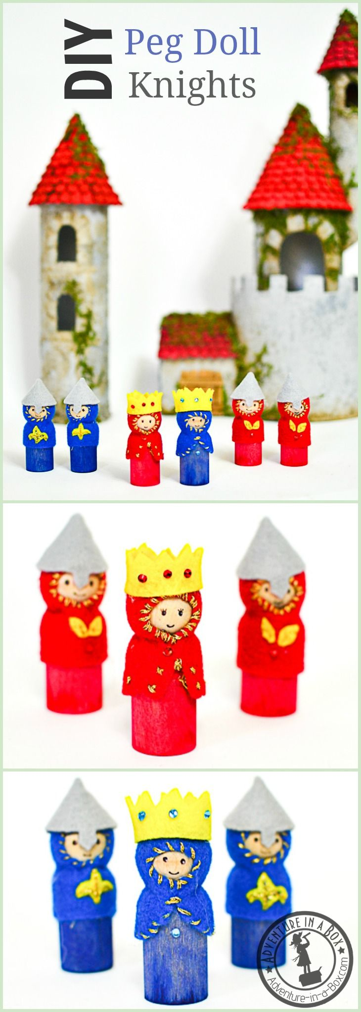 DIY Wooden Peg Doll Knights, Kings and Queens: When kids are going through a castle stage or studying medieval history, this tutorial will help…