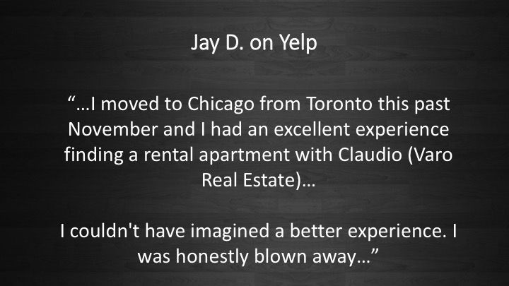 People love us on Yelp! #RealEstate #Realtor #Chicago #Relocation #VaroRealEstate #ForRent #Rental #Apartment #Renting