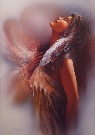 """The Promise"" by Lee Bogle  He does beautiful and romantic Native American artwork. Definitely worth checking out!"