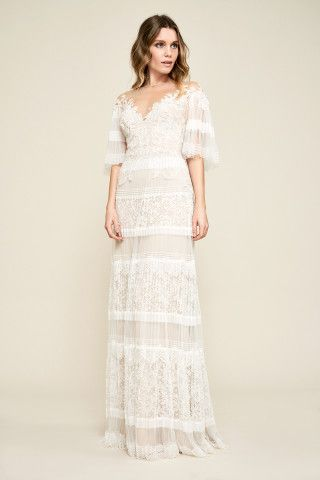 36423fb3833 Tadashi Shoji Nevaeh Pleated Gown Love this neckline sleeves ...