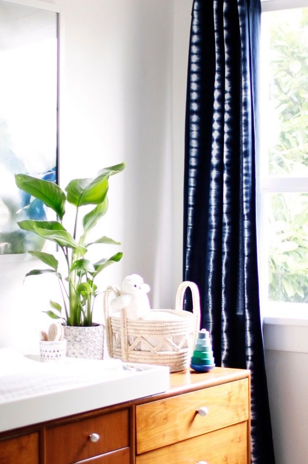 Style Edit // Modern Nursery – The Citizenry. Curtains to make with Shibori kit.