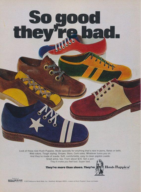1972 Hush Puppies Shoes Ad 70s Fashion Vintage Sneakers AdvertisementRetro Wall Art Decor Print