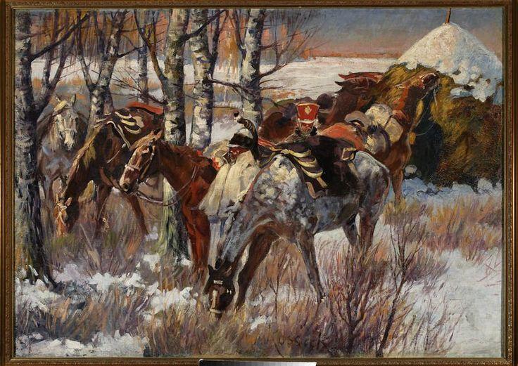 Wojciech Kossak (1856-1942) 🇵🇱🎨    Postój ułanów na śniegu  ok. 1896-1908
