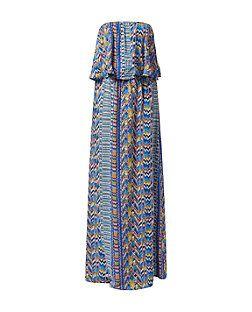 Madam Rage - Robe maxi bandeau bleue à superpositions et imprimé aztèque | New Look