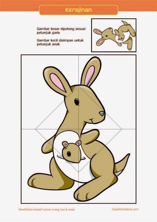 kerajinan gunting tempel PAUD (balita/TK) : buat sendiri puzzle kanguru