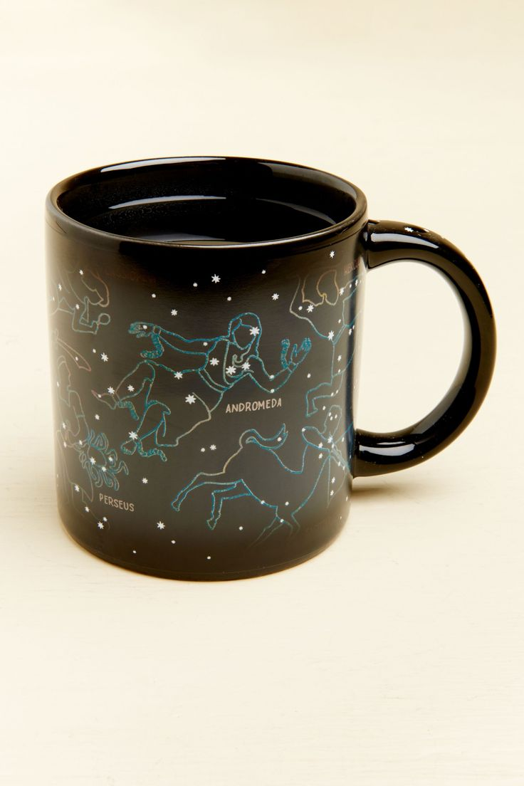 Stargaze at any hour of the day with this constellation morph mug! Simply fill the mug with a hot beverage like coffee or tea, and watch it reveal 11 constellations! The constellations included are: Andromeda, Cassiopeia, Castor and Pollux, Hercules, Orion, Perseus, Sagittarius, Scorpius, Taurus, Ursa Major, and Ursa Minor.