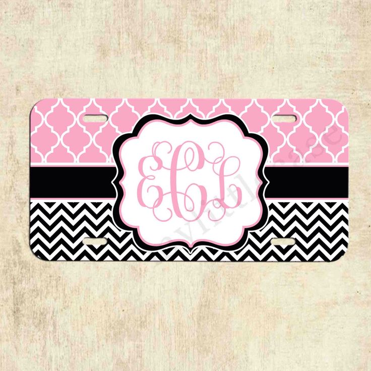 Monogram License Plate - Pink Lattice Black Chevron - Personalized License Plate - Car Tag - Front Plate by mylittlecase on Etsy https://www.etsy.com/listing/198475923/monogram-license-plate-pink-lattice