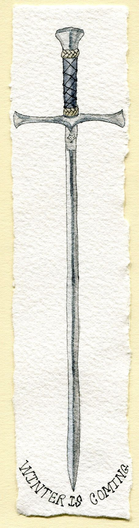 """""""Needle"""" is a thin sword wielded by Arya Stark. It was given to her by Jon Snow, who had it made by Mikken, the blacksmith of Winterfell. (""""Game of Thrones"""" ) Watercolor Bookmark by CrystalMistCottages"""