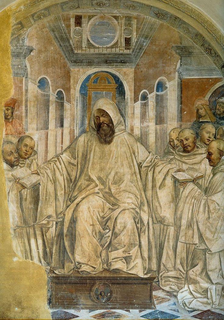 Содома. Бенедикт вручает монахам свой устав правил. Фреска. 1505-8. Монте Оливето Маджоре.