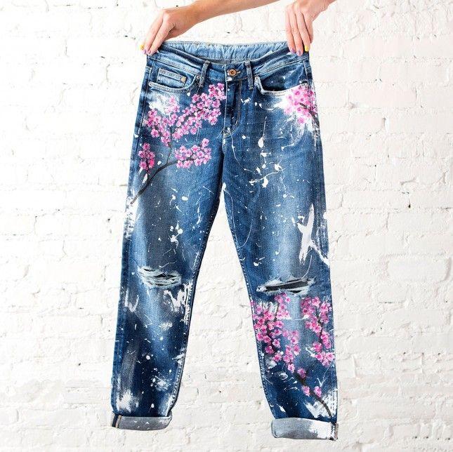 How to DIY Blake Lively's $500 Cherry Blossom Boyfriend Jeans