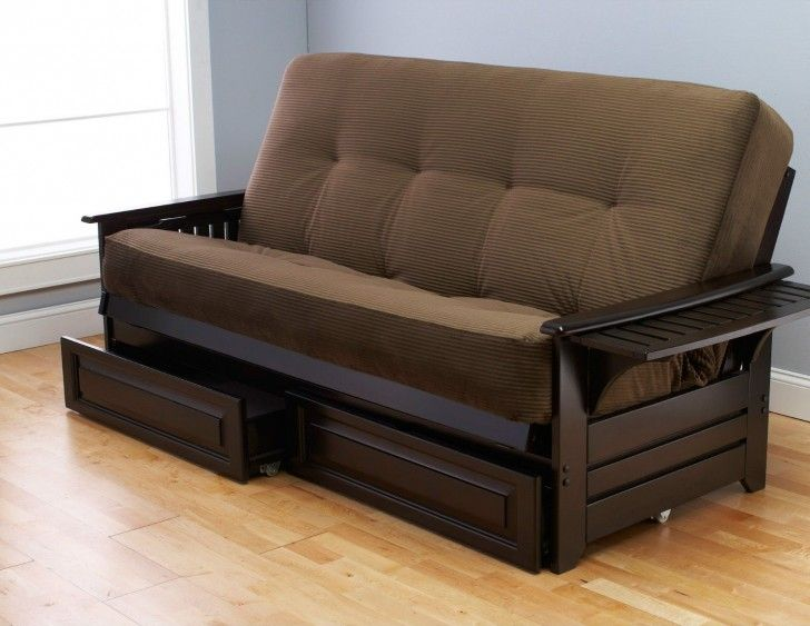 Futon Frame Queen Size Dark Brown Solid Wood Queen Size