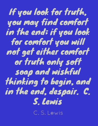 If you look for truth, you may find comfort in...