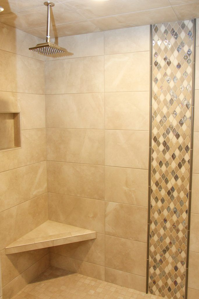 Beige Tile Shower Walls And Floor Beige And Iridescent Tile In