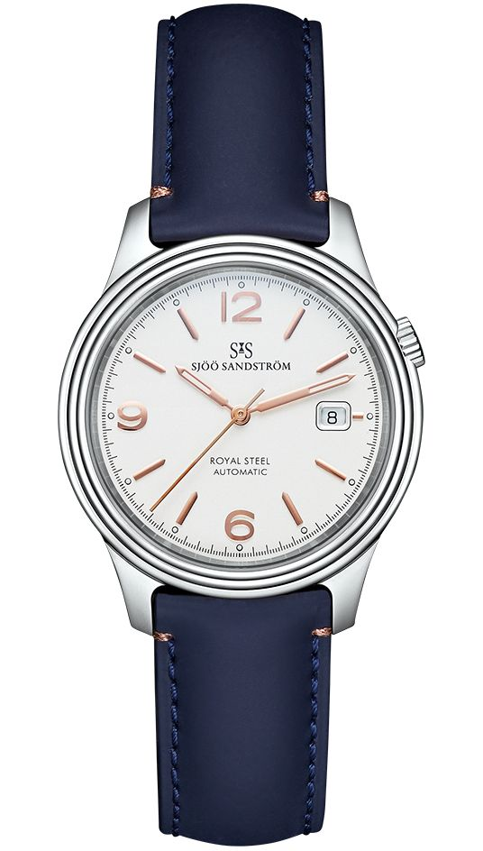Royal Steel Classic 41 mm, ivory rose gold dial with blue calf. #sjöösandström #sjoosandstrom #watch #watches #sweden #classic