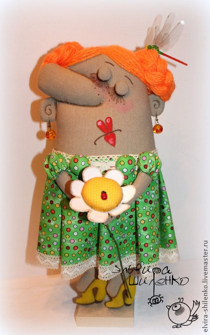 Collectible handmade dolls. Fair Masters - handmade Klavushka with chamomile. Handmade.