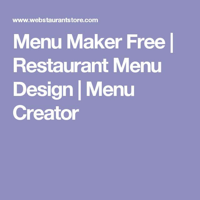 Menu Maker Free | Restaurant Menu Design | Menu Creator
