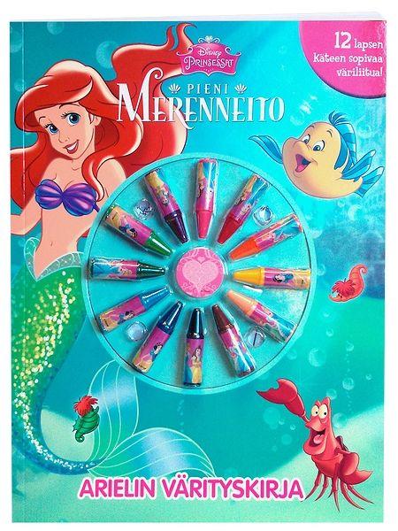 Prinsessat, Arielin värityskirjan mukana tulevat väriliidut odottavat pientä taiteilijaa! Ihana Ariel, komea Erik-prinssi ja häijy merinoita Ursula innostavat opettelemaan kynän ja värien käyttöä. Hurmaavia kuvia täydentää Ariel-merenneidon klassinen tarina.