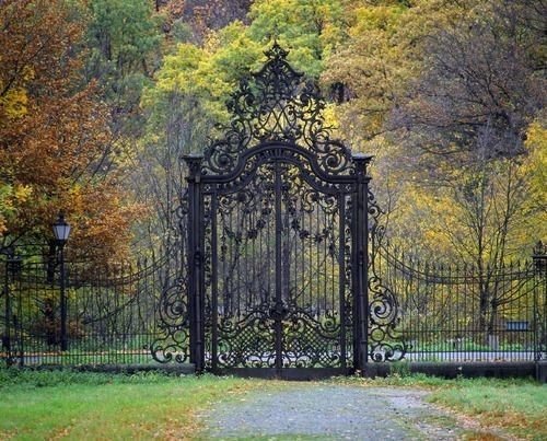 Beautiful iron fence and gate- this shall be the entrance to my Barbie dream house!