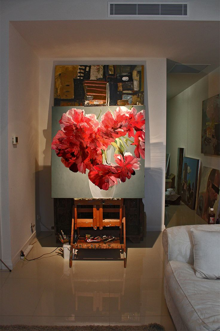 Large canvas.. Red Tulip late double ...in progress more on facebook raysaunderson