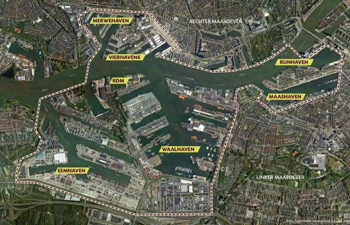 Transformation area Stadshavens Rotterdam, in the upper right corner is the city centre of the Netherlands second city..
