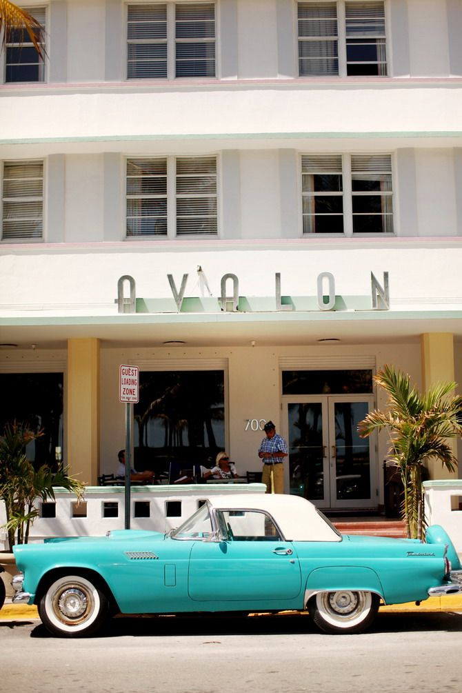 Classic 1955 Turquoise Ford Thunderbird, Avalon Hotel, Miami Beach, Florida