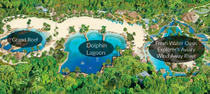 A map of the all inclusive Discovery Cove Orlando
