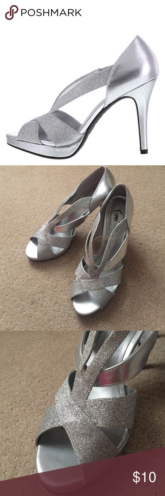 Fioni Silver Heel Fioni Silver Icicle Heel. Worn once and GREAT condition. No scratches or scuffs. Perfect for prom, homecoming, or other dances. FIONI Clothing Shoes Heels