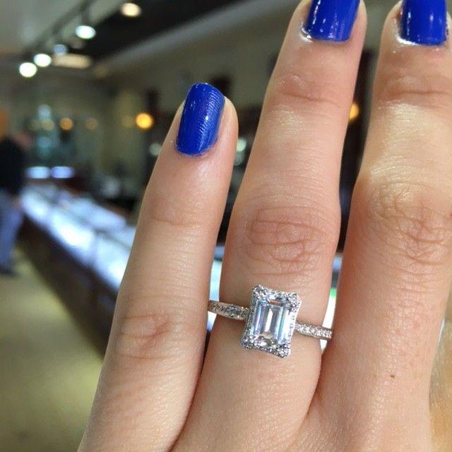 Tacori Dantela 2620ECSMPW Emerald Cut Engagement Ring Setting | Shops, Rings  and Engagement ring settings