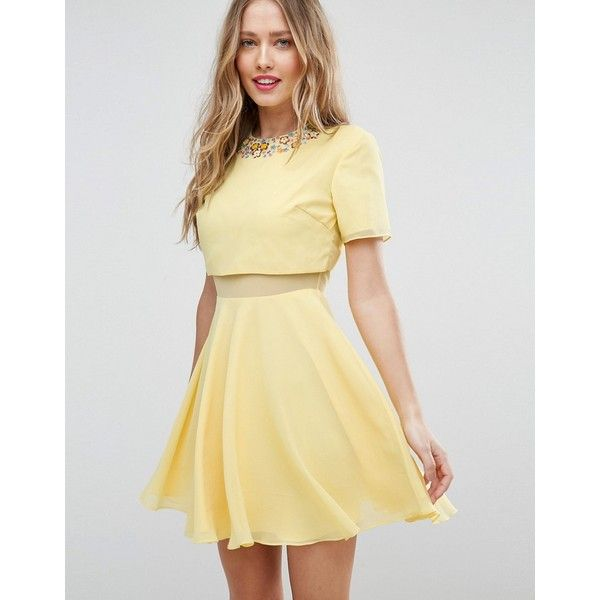 ASOS Embellished Scatter Crop Top Mini Skater Dress ($56) ❤ liked on Polyvore featuring dresses, yellow, yellow skater dress, yellow dress, mini prom dresses, party dresses and prom dresses