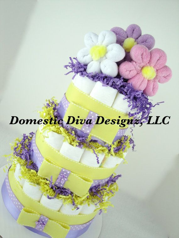 Diaper Cake  Baby Wash Cloth Flower Bouquet by DomesticDivaDesignz