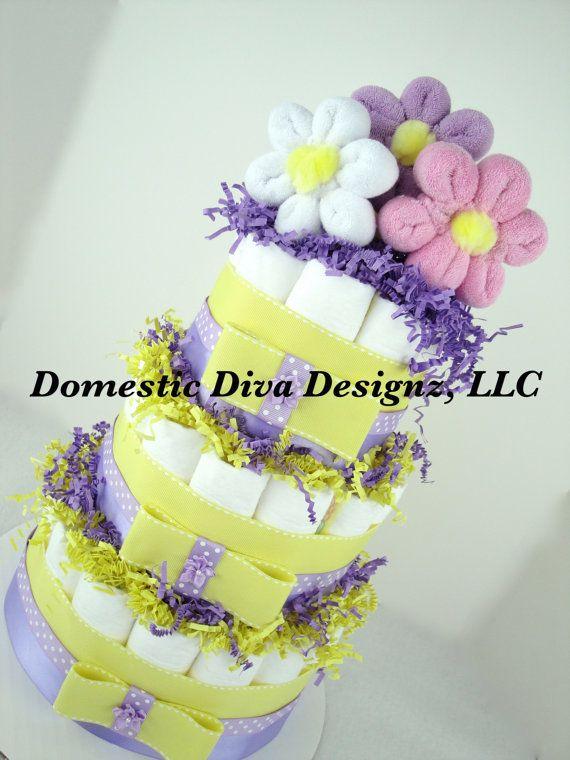 Diaper Cake  Baby Wash Cloth Flower Bouquet von DomesticDivaDesignz