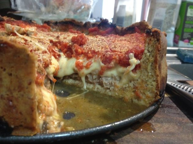 Deep dish #lowcarb #keto Chicago style stuffed pizza. shared on http://facebook.com/lowcarbzen/
