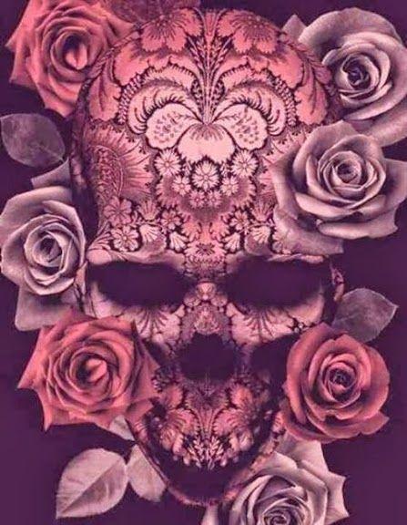 Dusty pink rose skull