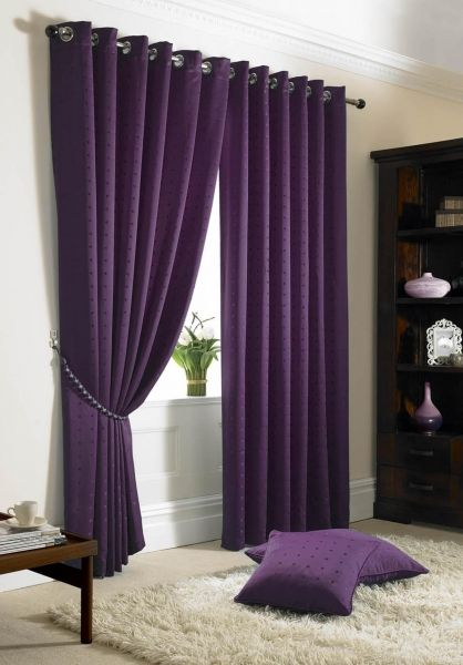 Madison Eyelet Lined Curtains Navy Blue