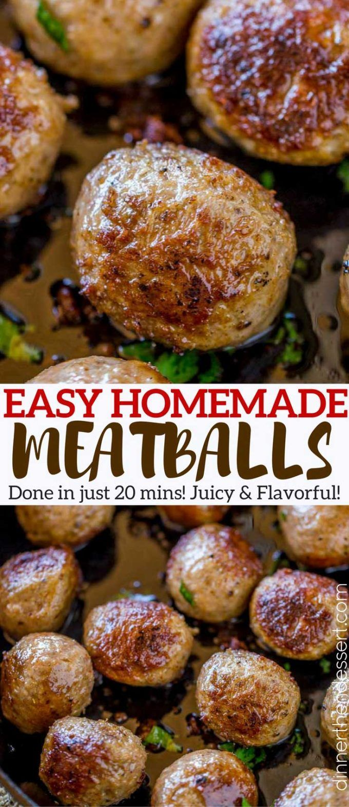 Easy Homemade Meatballs made in just 20 minutes that are moist, crispy on the outside and fluffy on the inside. Perfect for all your meatball recipes, and easy to freeze!