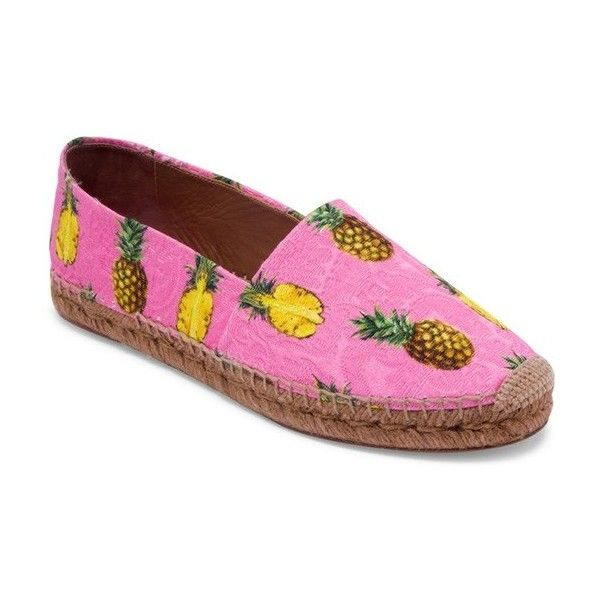 Dolce & Gabbana Brocade Pineapple Espadrilles (€465) ❤ liked on Polyvore featuring shoes, sandals, flats, shocking pink, pink flats, dolce gabbana flats, flat pumps, pink flat shoes and pink espadrilles