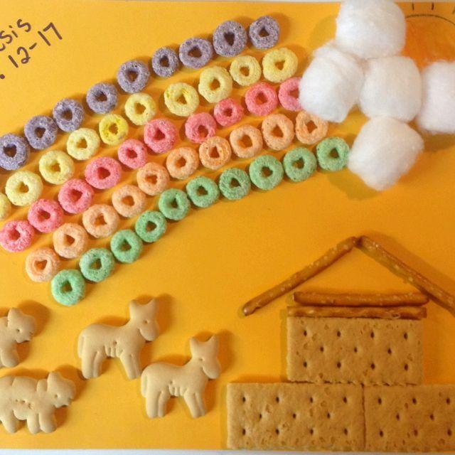 Noah's Ark Craft. Fruit Loop/cotton ball rainbow, graham cracker/pretzel boat, and animal crackers. Kids loved it at church!