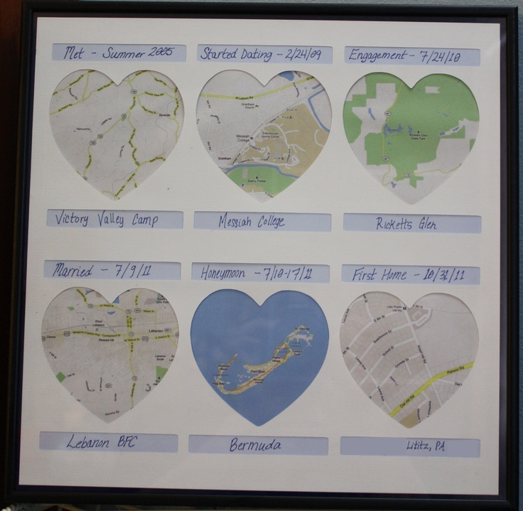 1st Wedding Anniversary paper (maps of where we met, married, etc.). OH MY GOSH @Brittney Taylor I am going to have to make this for Josh and I