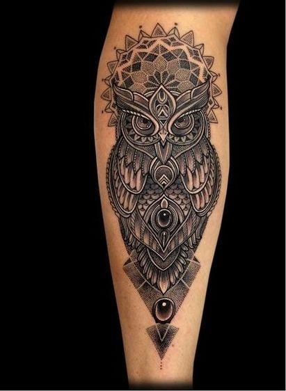 Uil Icm Dotwork Mandala Stijl Niels Pinterest Tattoo Ideen