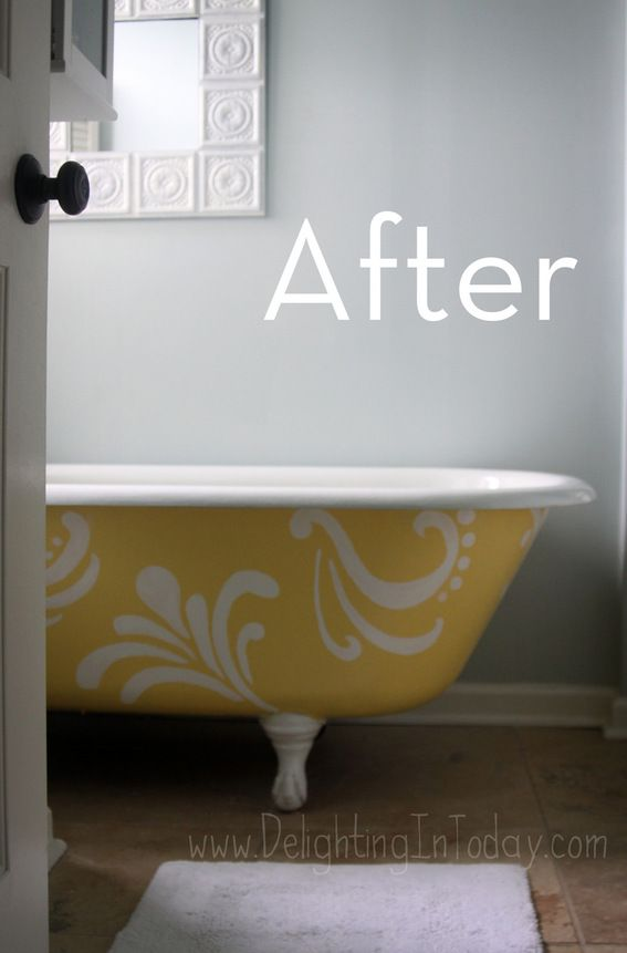 yellow bathtub                              credit: Delighting in Today [http://www.delightingintoday.com/2012/08/rub-a-dub-paint-your-tub/]