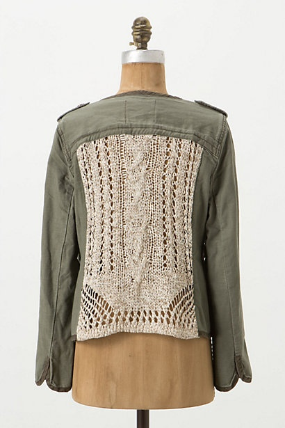 openwork army jacket. You could do this with vintage lace: Jackets Refashion, Clothing Ideas, Clothing Upcycled, Openwork Army, Refashion Ideas, Anthropologie Com, Knits Jumpers, Army Jackets, Upcycled Clothing