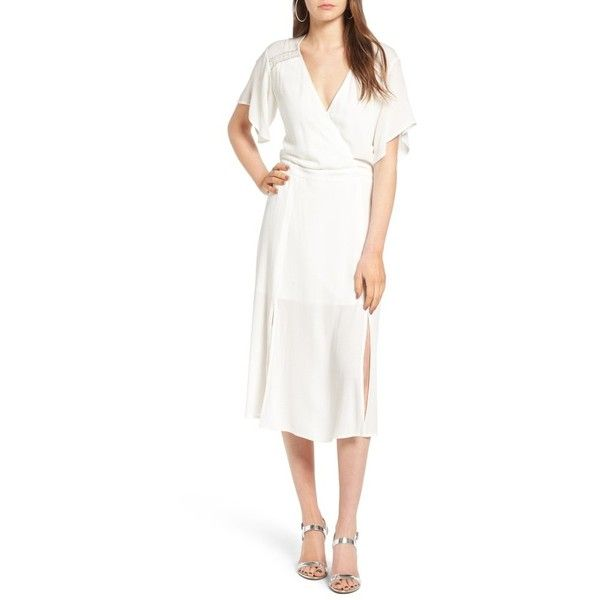 Women's Leith Surplice Midi Dress ($75) ❤ liked on Polyvore featuring dresses, ivory cloud, mid calf dresses, white drape dress, draped cocktail dress, winter white cocktail dress and white midi dress