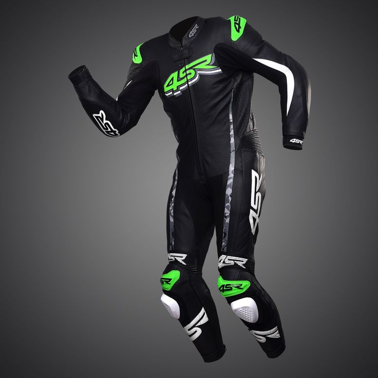 1PC racing motorcycle leathers suit, MONSTER Green by #4SR #leathers #suit