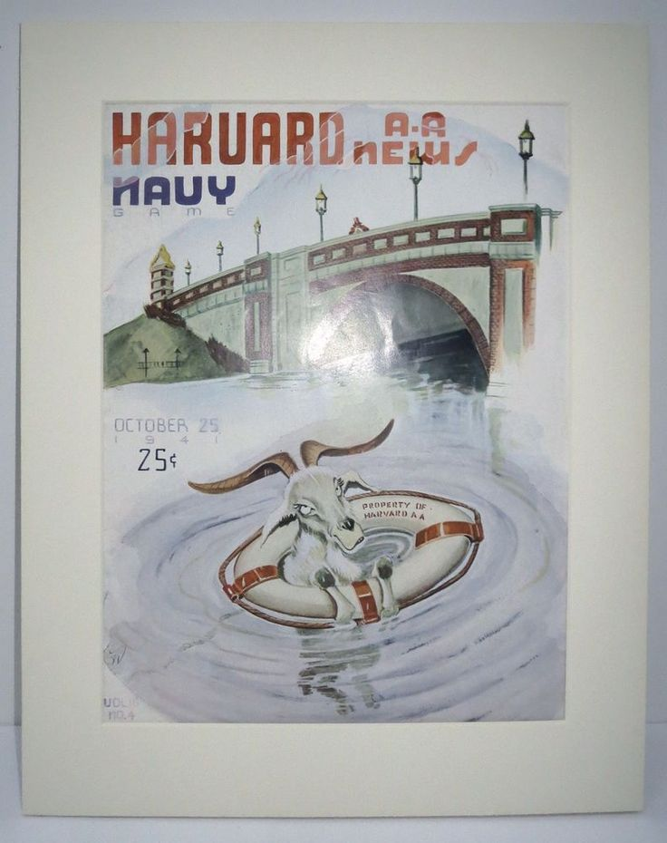 Harvard News Magazine Cover Print October 1941 Navy Game Goat Coca Cola Ad #HarvardAANews