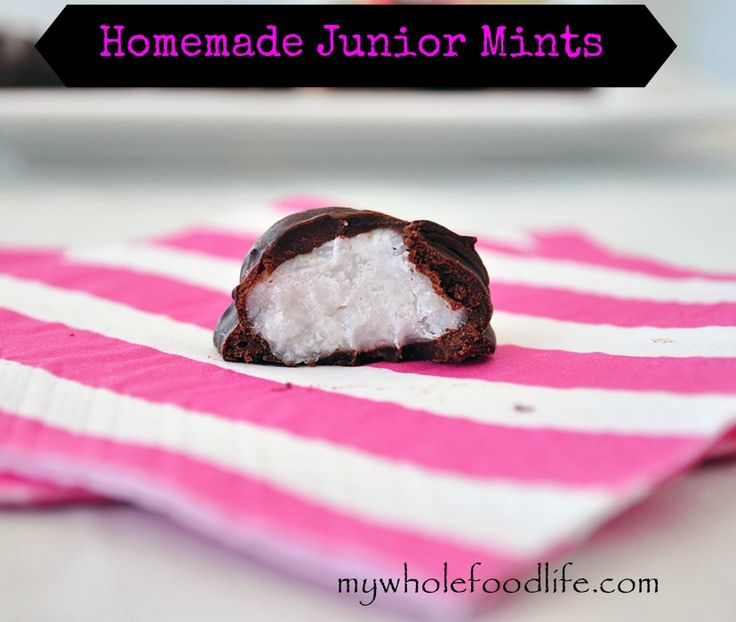 Homemade Junior Mints.  No added sugar, only 4 ingredients and super simple to make.  These little candies melt in your mouth.  #vegan #glutenfree #chocolate #juniormints #candy #dairy free #soyfree