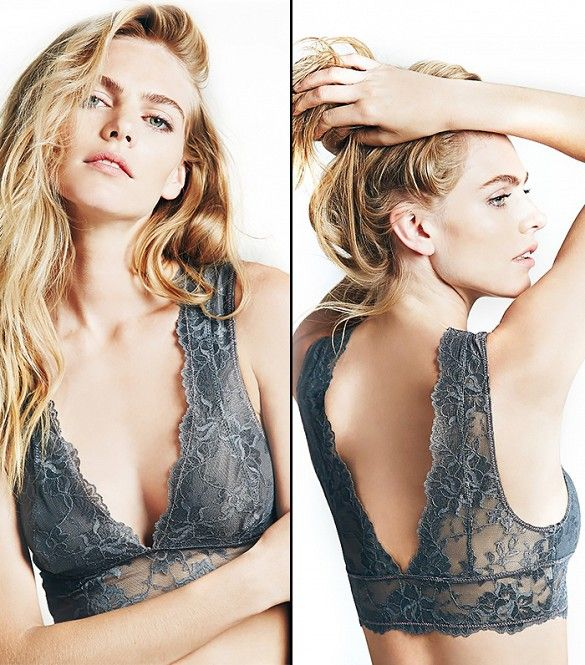 This bra is pretty enough to be worn as a crop top // Free People Gallon Lace Deep V Bra in Graphite