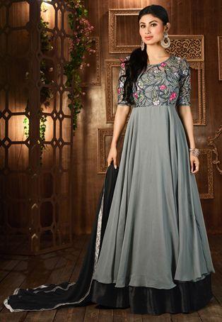 Gestickte Georgette und Net Abaya Style-Anzug in Grau